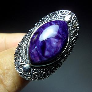 天然紫龙晶925银镶嵌个性复古潮人大戒指!精品满紫龙纹水晶!