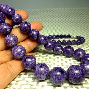 收藏级俄罗斯天然紫龙晶塔珠项链!龙纹满紫!