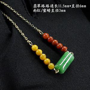 翠绿翡翠蜜蜡南红锁骨链颈链7858