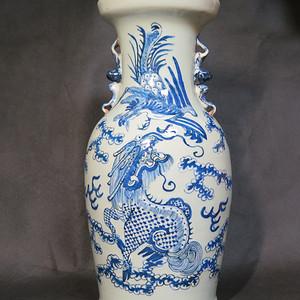 清代42cm龙凤呈祥豆青釉大瓶