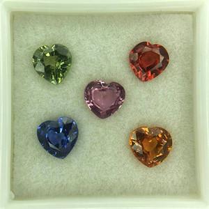 天然彩色蓝宝石裸石5粒99968