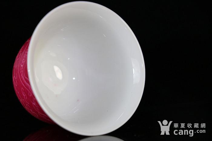 民国龙纹胭脂红杯图4