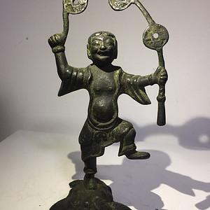 清代铜雕刘海戏金蟾