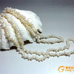 白色强珠光米圆形珍珠!天然淡水珍珠超长项链!