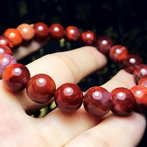 九口南红!纯天然原矿南红玛瑙玫瑰红火焰红柿子红漂亮圆珠手链!