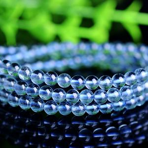 高品质全透玻璃体蓝萤石天然水晶圆珠多圈手链!支持国检鉴定!