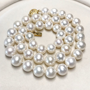 漂亮强光天然淡水珍珠近正圆珍珠项链!