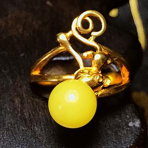 满蜜戒指!波罗的海天然蜜蜡完美正圆纯银镀18K黄金戒指