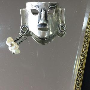 8092欧洲回流面具造型银胸针