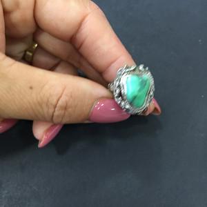 8096欧洲回流银嵌绿松戒指