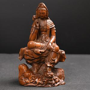 联盟 旧藏小叶黄杨木雕观音人物摆件