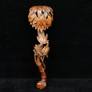 联盟 旧藏小叶黄杨木雕竹节如意摆件