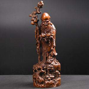 联盟 旧藏小叶黄杨木雕大寿星人物摆件