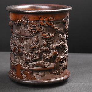 联盟 旧藏红木底口竹雕笔筒