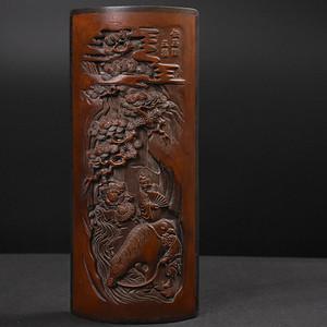 联盟 旧藏红木边竹雕臂阁