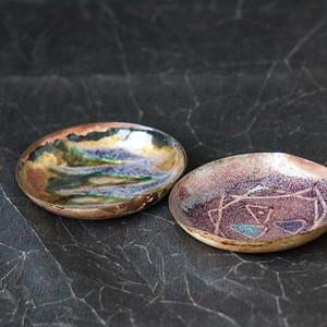 意大利手工绘画铜胎珐琅盘两个