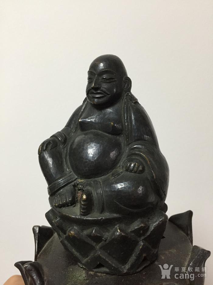 清代铜雕罗汉 带藏文款图2