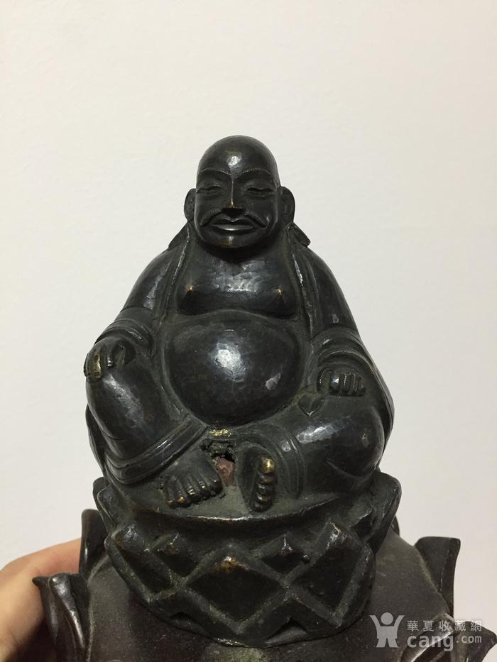 清代铜雕罗汉 带藏文款图3