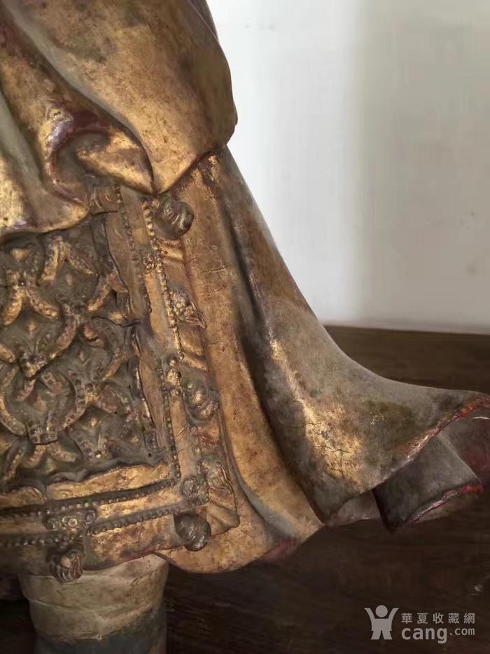 明代65厘米大型漆金关公木雕图4