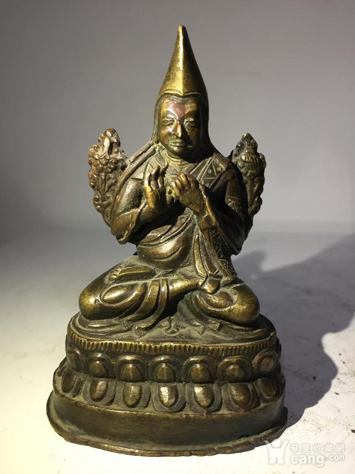 清代铜雕上师像图1