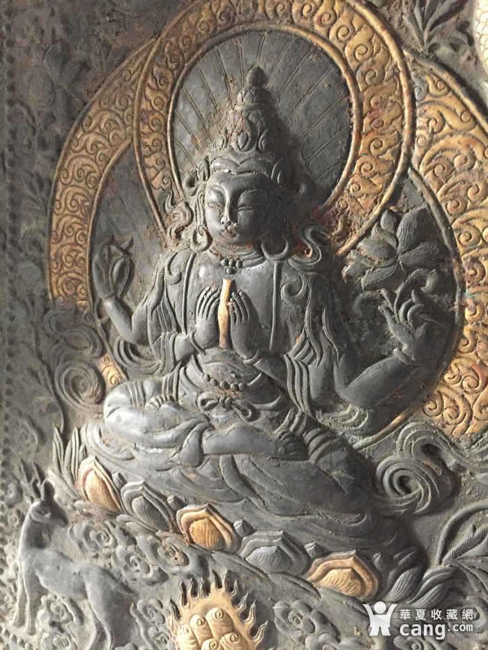 清代乾隆宫廷铜浮雕佛像三尊图3