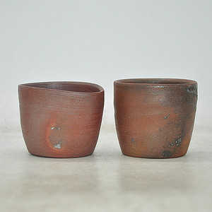 日本茶道備前烧茶具两个
