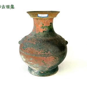 汉 绿釉盘口双辅首大壶2