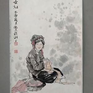 张伟民 缝织少女图