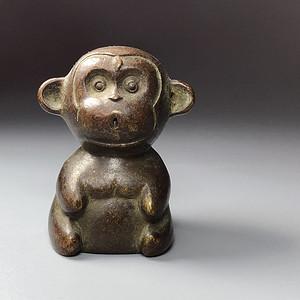 日本回流 百年老铜小猴茶宠一件