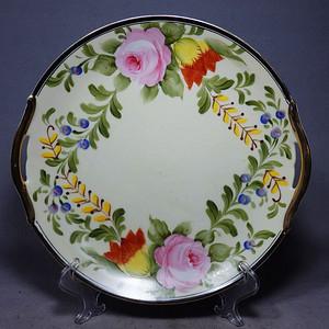 维多利亚时期粉彩花卉绘画双耳盘