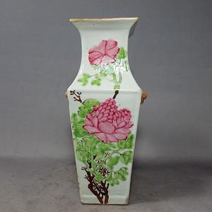 清代方家珍浅降花卉绘画四方赏瓶