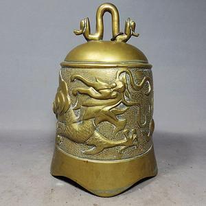 晚清黄铜苍龙雕刻钟