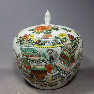 清代名家戴裕成作博古绘画西瓜罐
