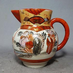 九谷时期矾红描金人物绘画奶壶