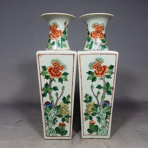 清代五彩四面花卉绘画天圆地方瓶一对
