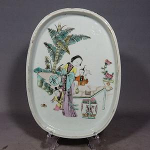 清代粉彩侍女绘画鸦片盘