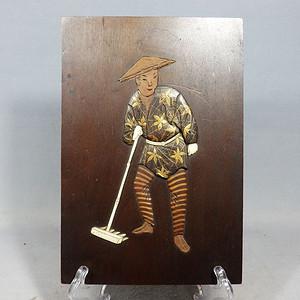 清代木雕镶嵌人物挂片