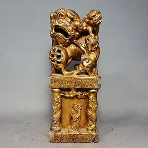 清代石狮雕刻鎏金印章