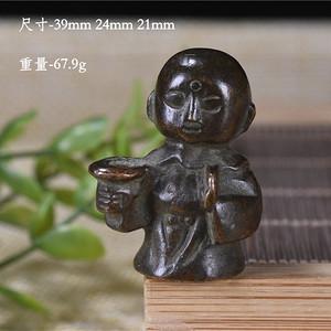 日本回流 纯铜 小和尚 香插 镇纸 手感沉甸甸