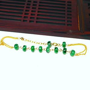 14k金镶嵌冰润满绿平安扣手链