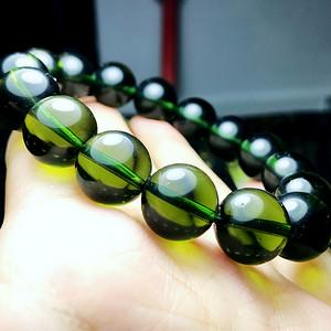 天外来物!捷克进口纯天然陨石全通透玻璃体满绿原石圆珠手串
