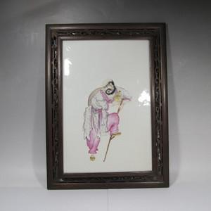 民国精品粉彩人物瓷板画