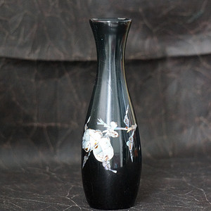 加拿大回流螺钿镶嵌黑漆花瓶