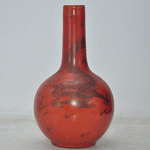 红釉龙凤瓷瓶