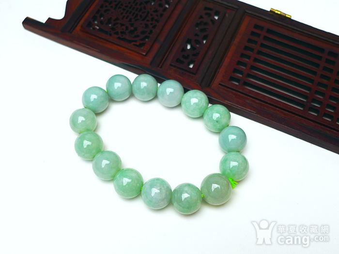 冰润绿圆珠手链图1