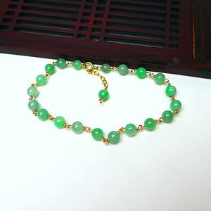 14k金镶嵌冰润绿圆珠手链