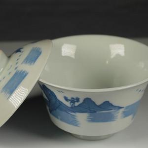 景德古窑青花瓷梧桐盖碗