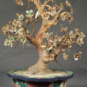大型铜胎掐丝百宝盆景