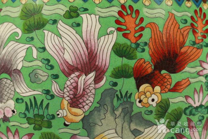 铜胎掐丝金玉满堂纹大画缸 带红木底座图7