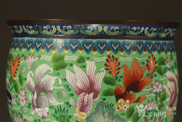 铜胎掐丝金玉满堂纹大画缸 带红木底座图8